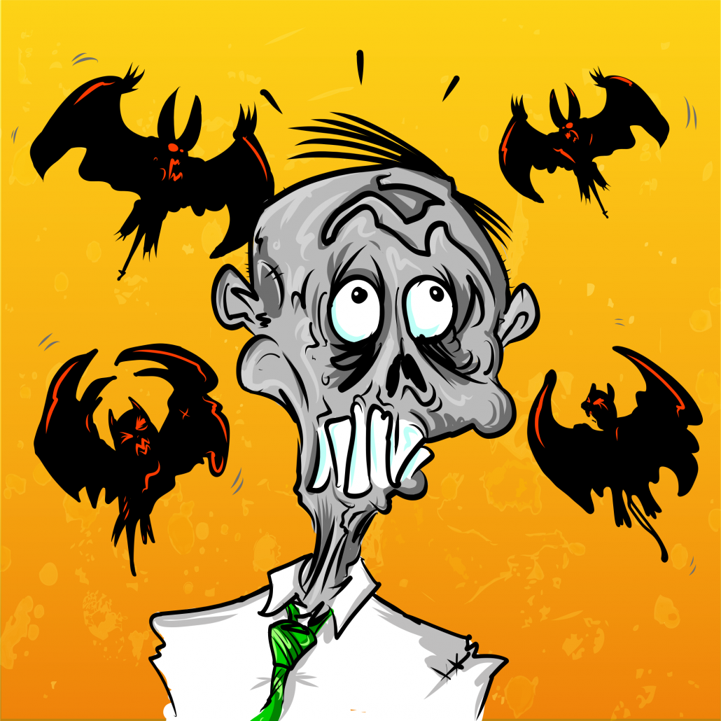 zombie with bats flying around his head